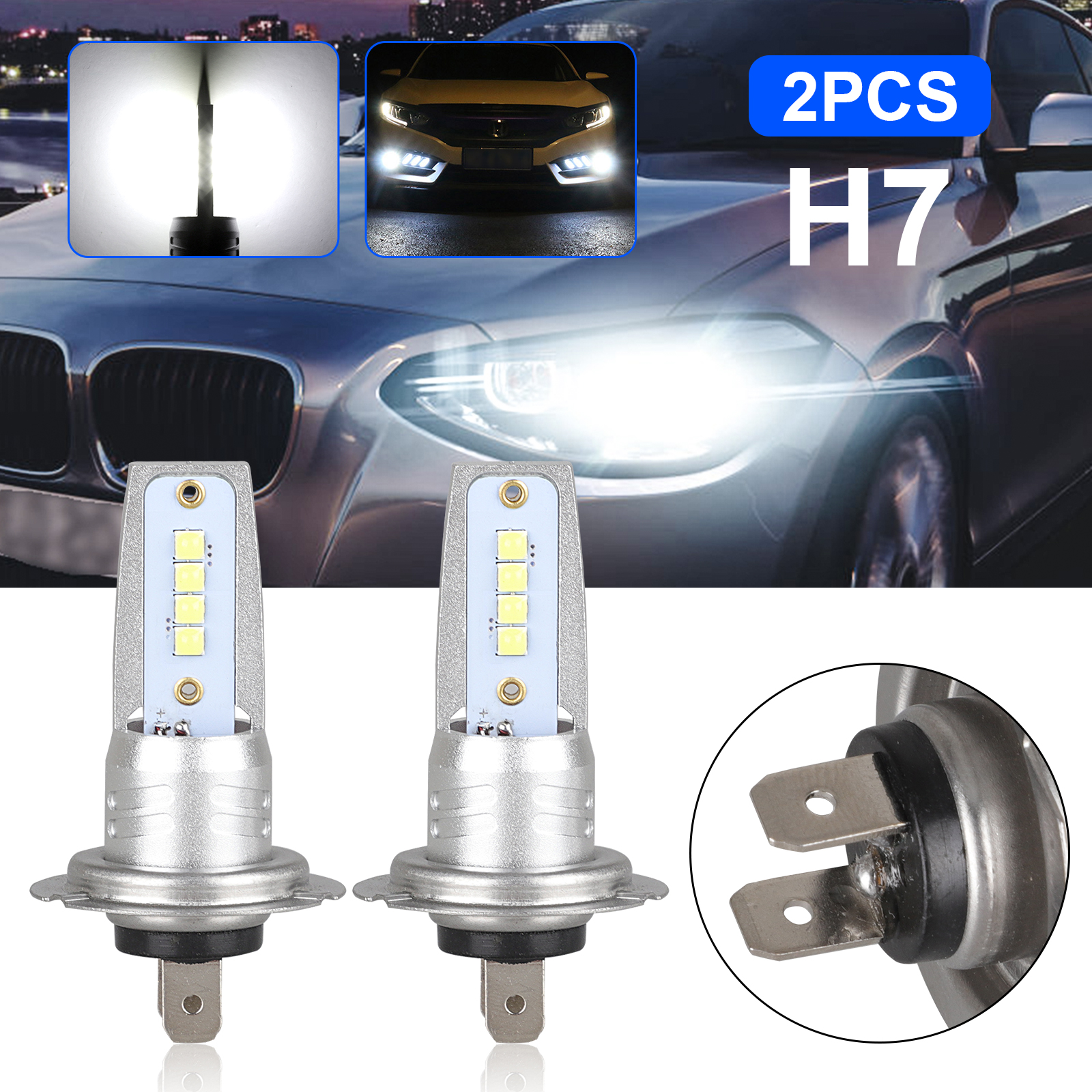 2x H7 LED Headlight Bulbs Kit High Low Beam 80W 6000LM Super