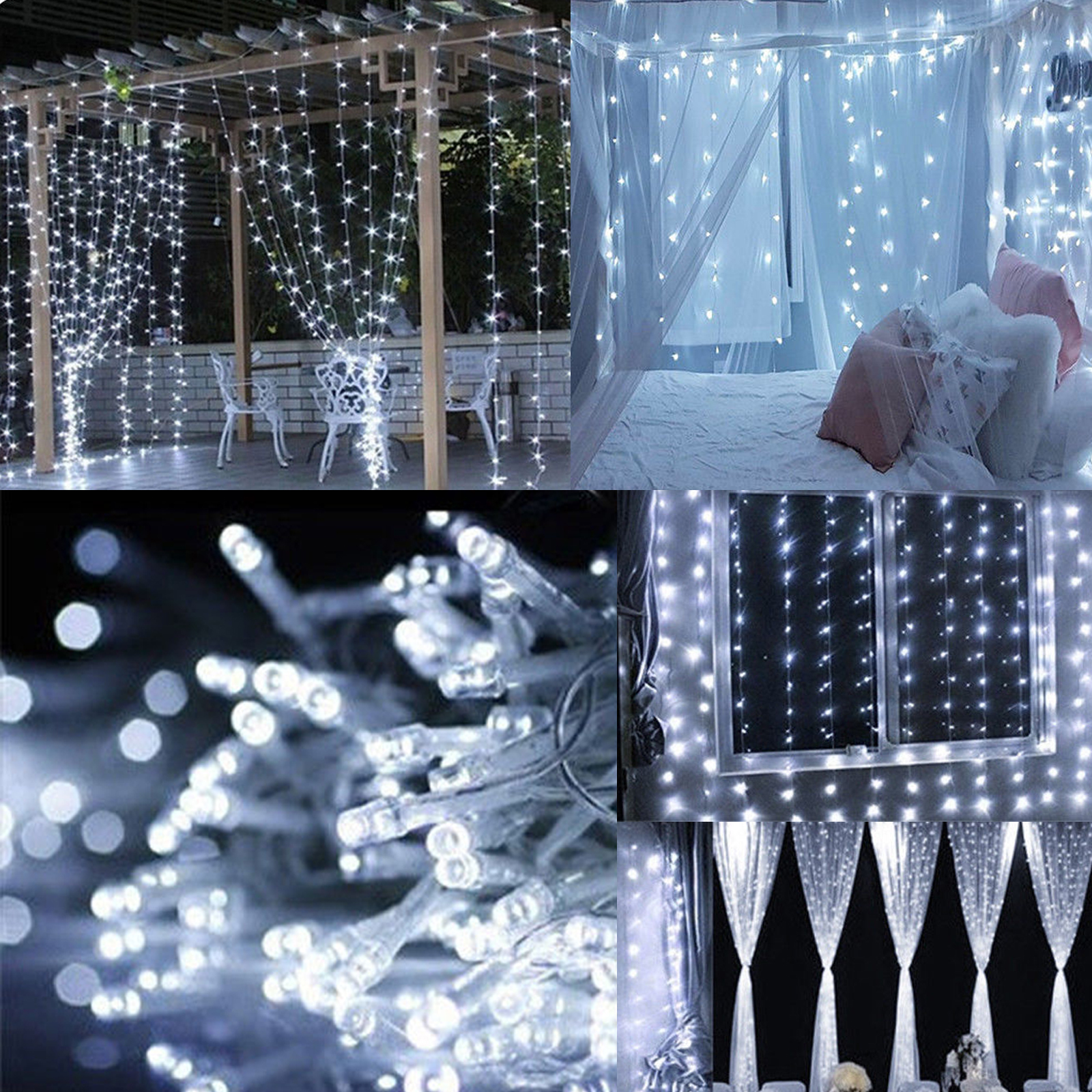Warm-White-100LED-10m-Fairy-Curtain-String-Lights-Christmas-Xmas-Party-Holiday thumbnail 14