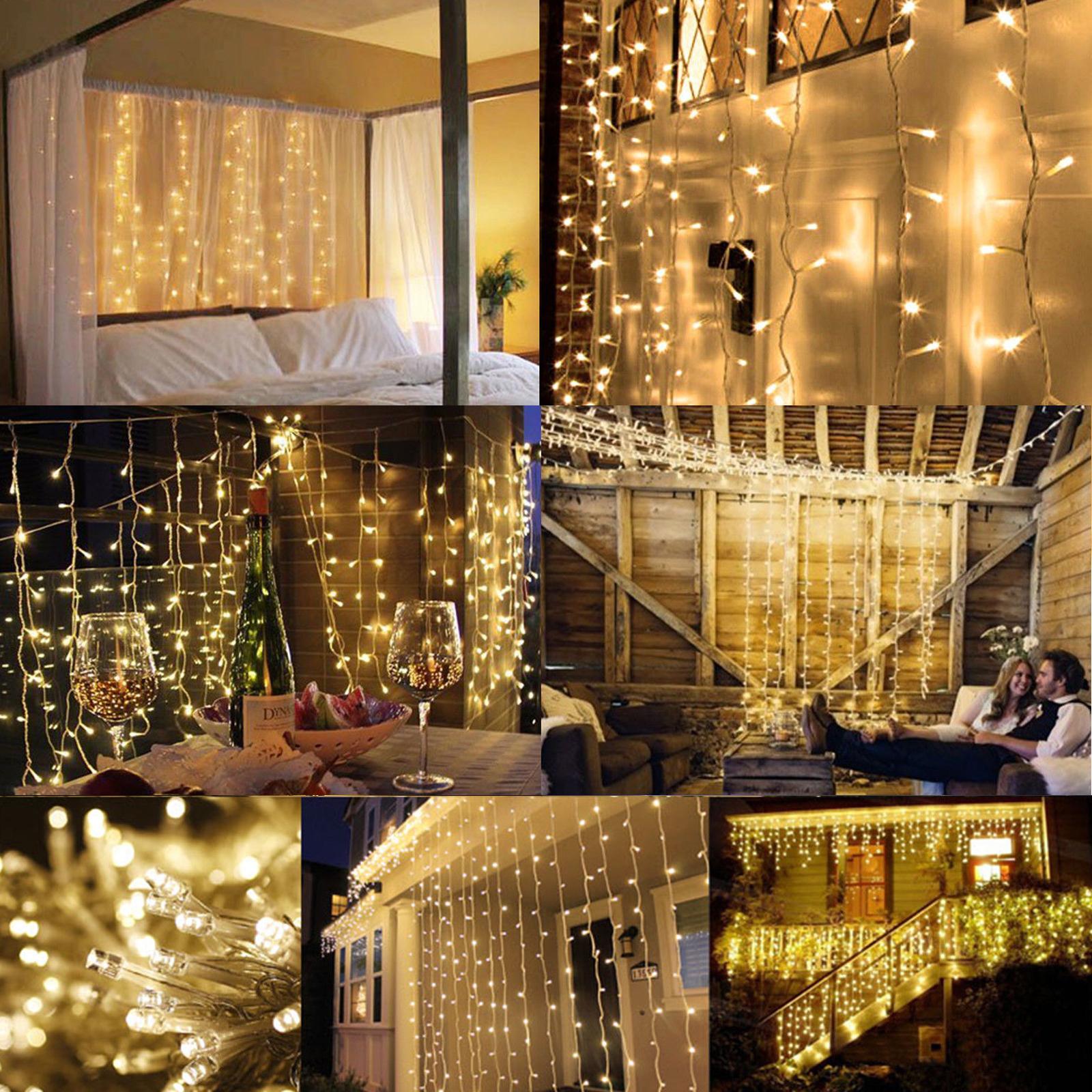 Warm-White-100LED-10m-Fairy-Curtain-String-Lights-Christmas-Xmas-Party-Holiday thumbnail 13