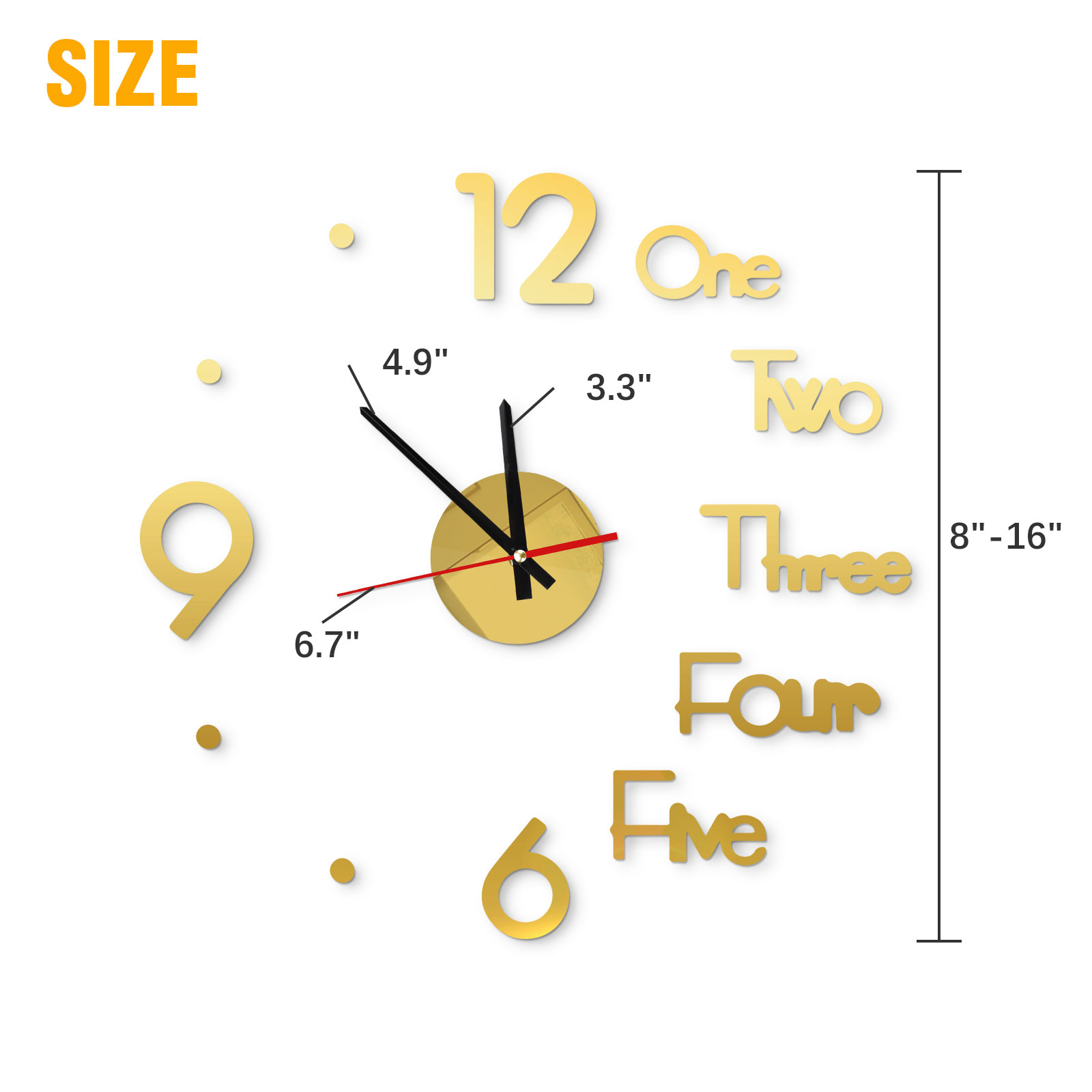 Modern DIY Large Wall Clock 3D Mirror Surface Sticker Home ...
