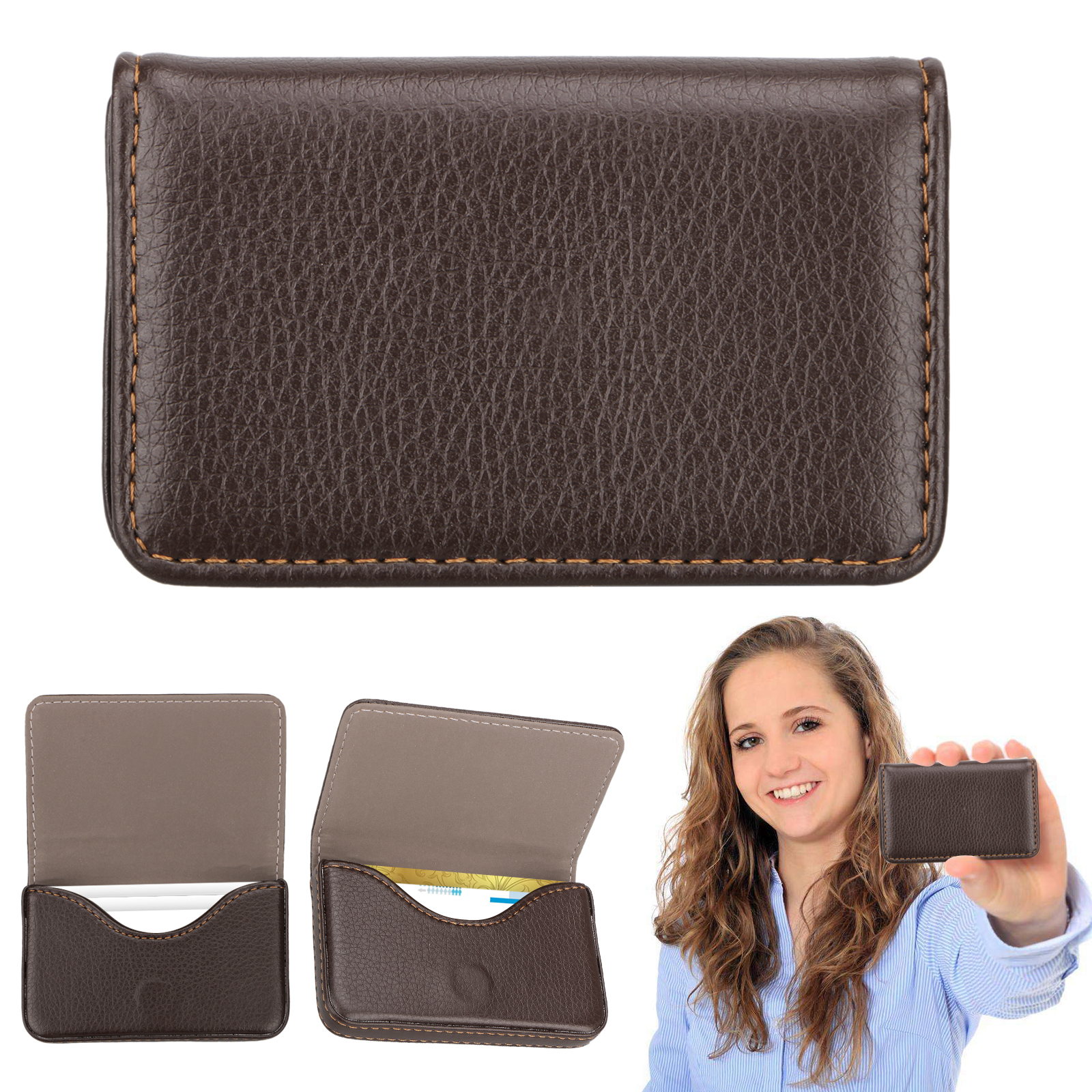 Mens-Pocket-Leather-Business-ID-Credit-Card-Holder-Case-Wallet-w-Magnetic-Shut thumbnail 10