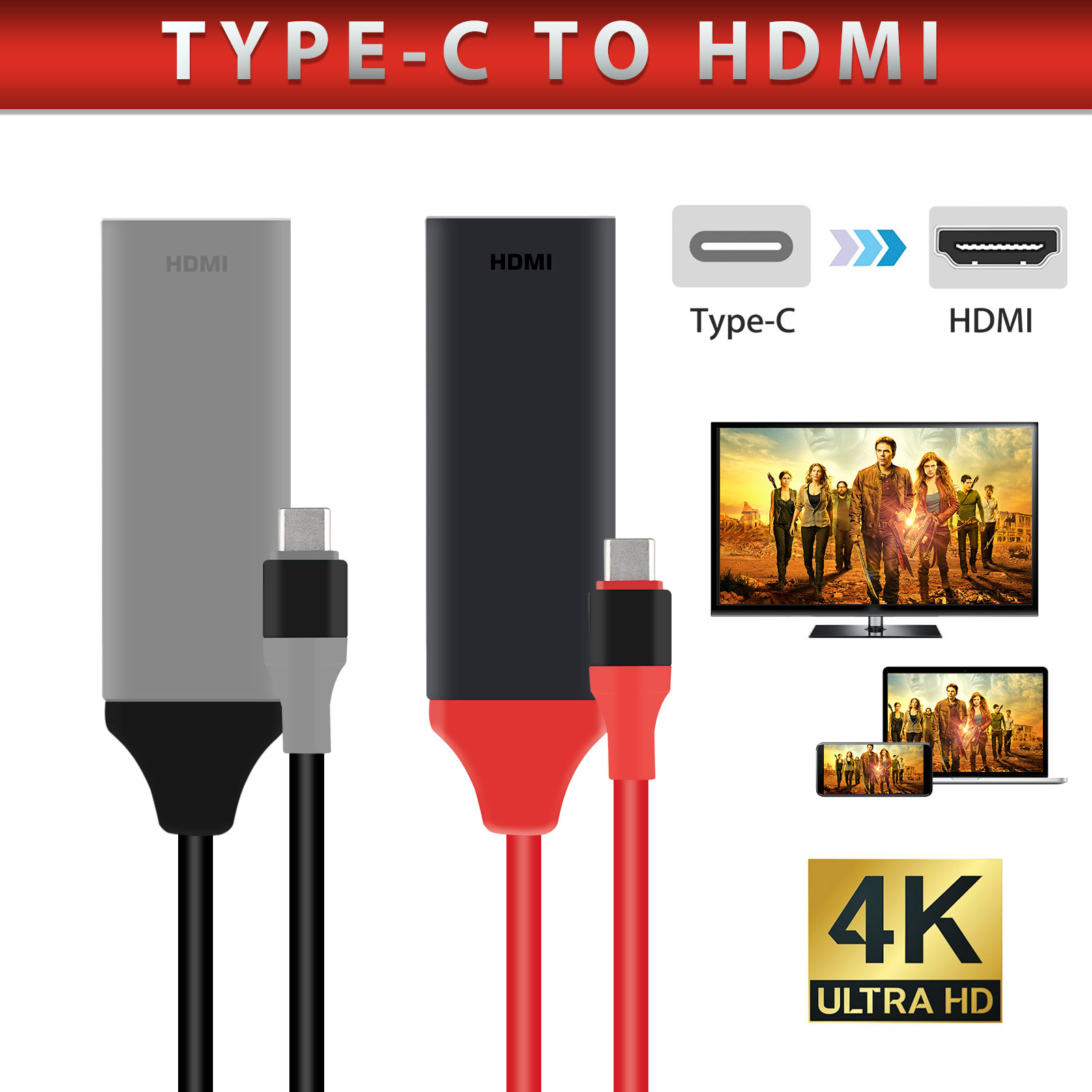 USB-C Type C to HDMI 4K HDTV TV Cable Adapter For Samsung S1