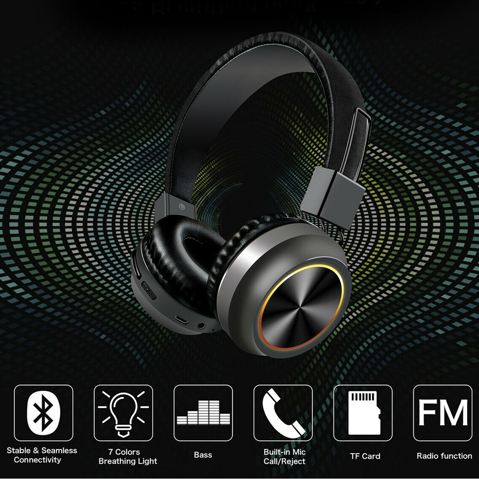 Wireless Headphones Bluetooth Headset Foldable Noise Cancell