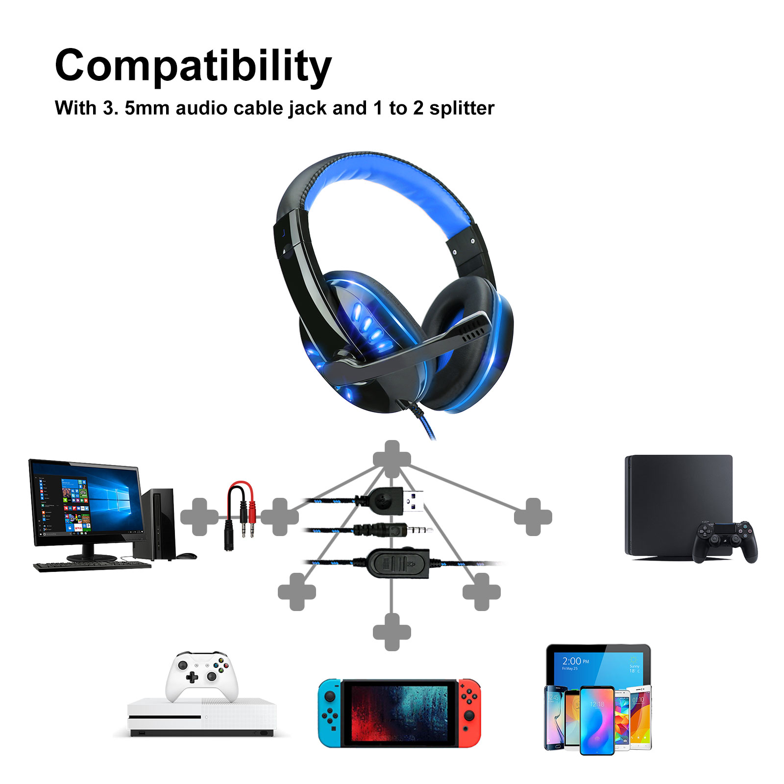 3.5mm Gaming Headset Mic LED Headphones Stereo Surround For PC PS4 Xbox ONE iPad 2