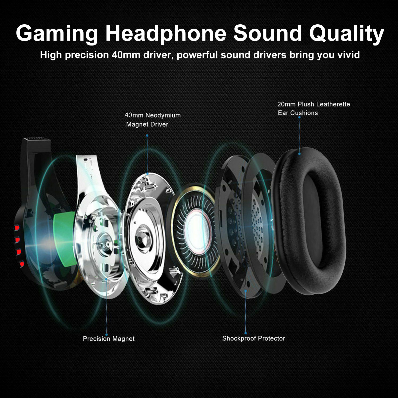 3.5mm Gaming Headset Mic LED Headphones Stereo Surround For PC PS4 Xbox ONE iPad 3