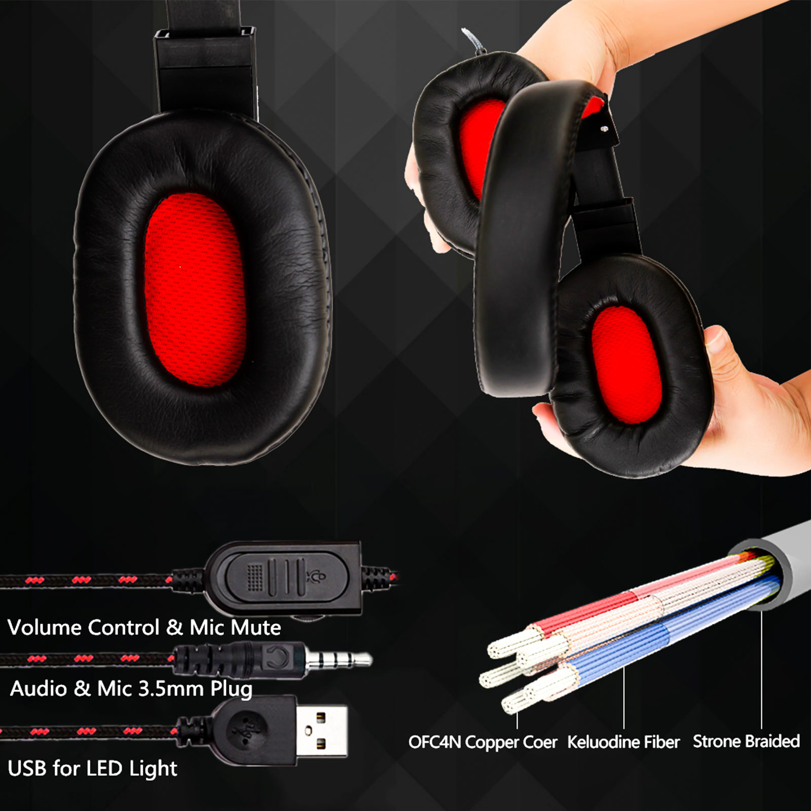 3.5mm Gaming Headset Mic LED Headphones Stereo Surround For PC PS4 Xbox ONE iPad 7