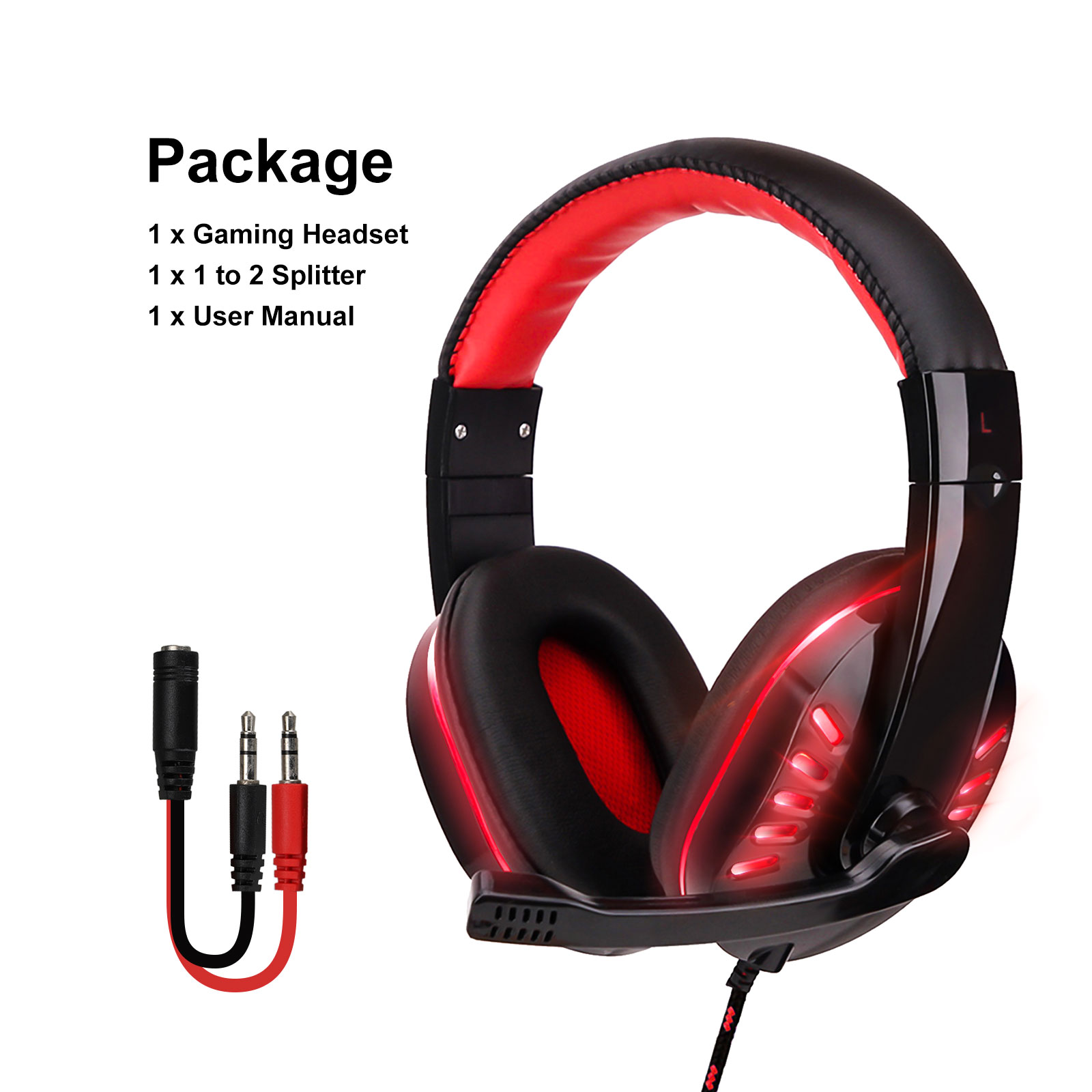 3.5mm Gaming Headset Mic LED Headphones Stereo Surround For PC PS4 Xbox ONE iPad 9