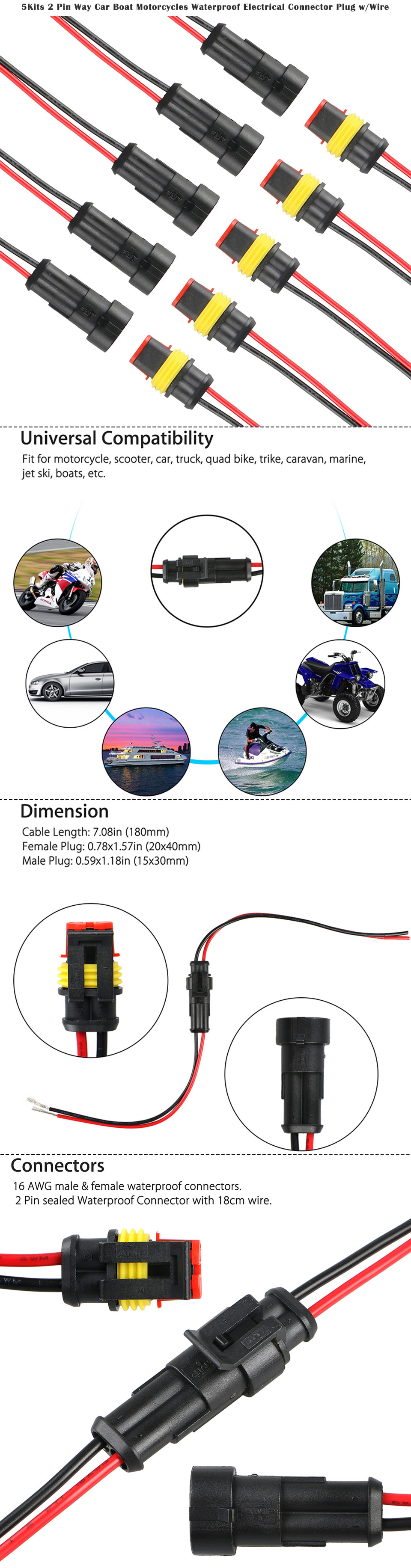 5kits 2 Pin Way Car Boat Motorcycles Waterproof Electrical Connector Motorcycle Wiring Connectors Plug Wire Awg Marine Applicable In Scooter Truck Quad Bike Trike Caravan