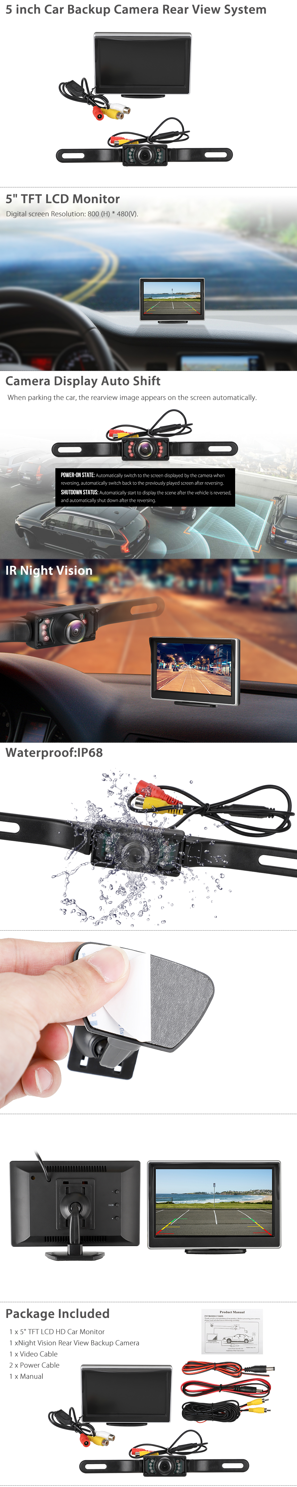 New 8 LED Car Rear View Camera Car Front//Side View Backup Rear View IR Night Vision Camera with Parking Line DC 12V Universal Carvicto