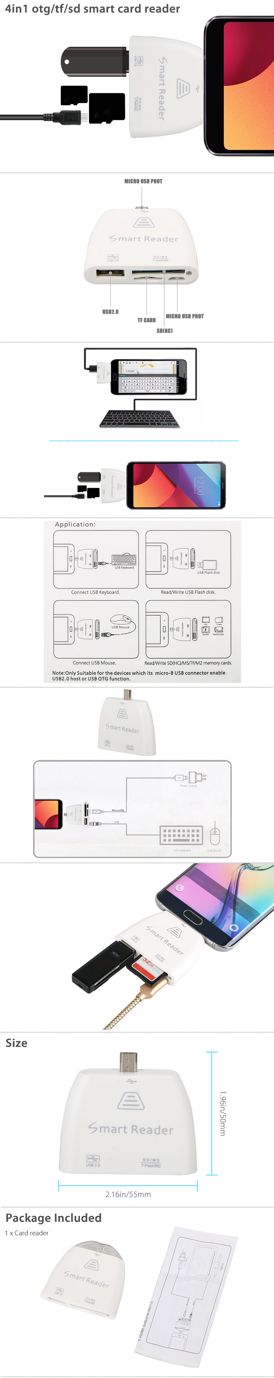 4 In 1 Otg Tf Sd Smart Card Reader Adapter W Micro Usb Charging Orange Wire Diagram Product Features